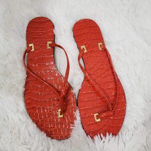 Lauren by Ralph Lauren Red Crocodile Thongs Size 6